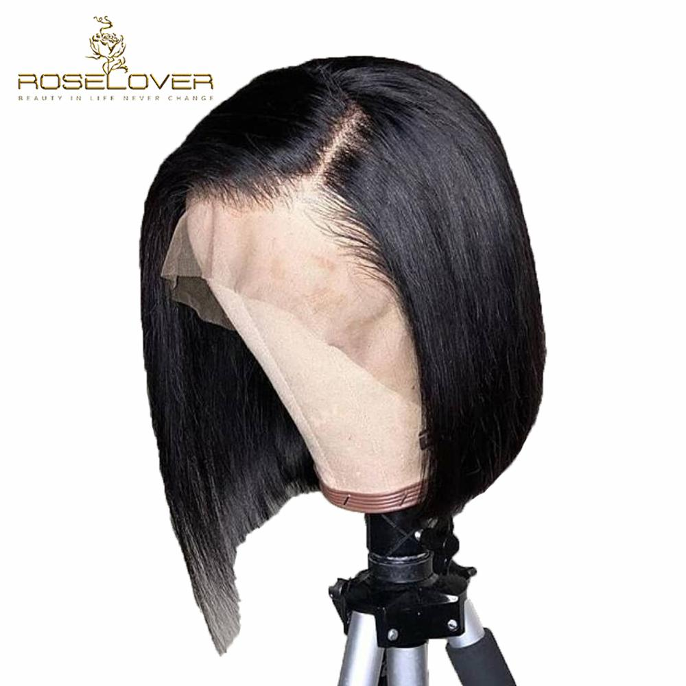 Pre Plucked Deep Part 13x6 Lace Front Human Hair Wigs Brazilian Remy Hair Detachable Band Short Straight Bob Wig Bleached Knots