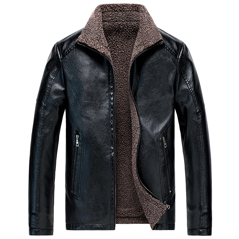 Winter Fleece Leather Jacket Men's Warm PU Biker Coat Mens Fur Clothing Men Motorcycle Leather Jackets Plus Size 6XL 7XL 8XL