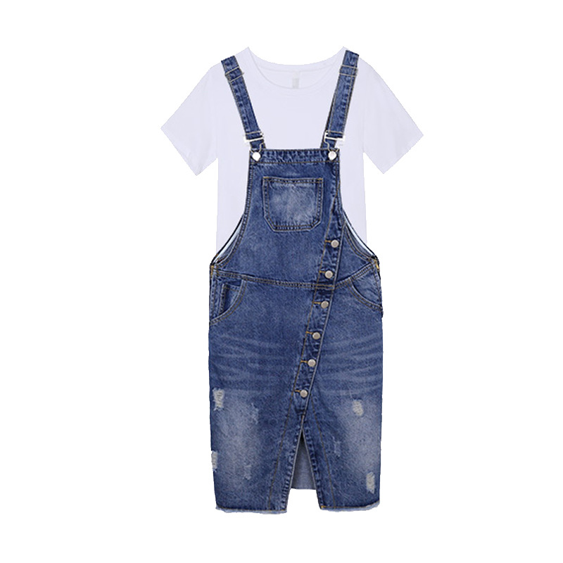 Women 39 s Overalls Denim Suspenders Dress Preppy Style Lady Adjustable Strap Split Jeans Dresses Vestidos Verano 2019 Mujer in Dresses from Women 39 s Clothing