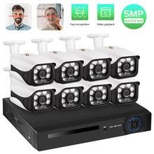 Fuers cctv sistema 8ch nvr 5.0mp poe câmera sistema de vigilância h.265 segurança à prova dwaterproof água câmera de alarme gravador de vídeo face record