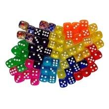 Игральные кости DND набор 10 шт./лот 6 сторон dobbelstenen dados 14 мм акриловые круглые Прозрачные Кубики игры цифровые кубики