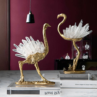 Modern Animal Brass Ostrich Arc Gold Statue Home Crafts Living Room Decor Objects Office Crystal Sculpture adornos para casa