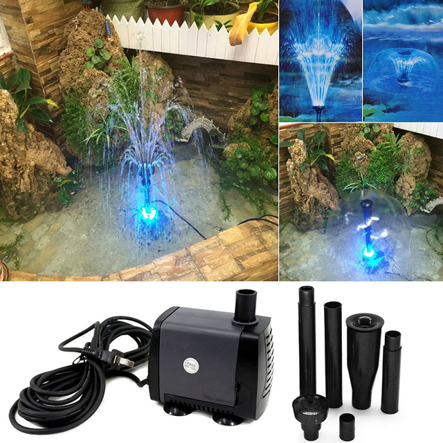 Submersible Aquarium Water Pump with 15 PCS Multi Color Changing LEDs for Hydroponics Garden Pond Fish Tank LED Fountain Pump 2