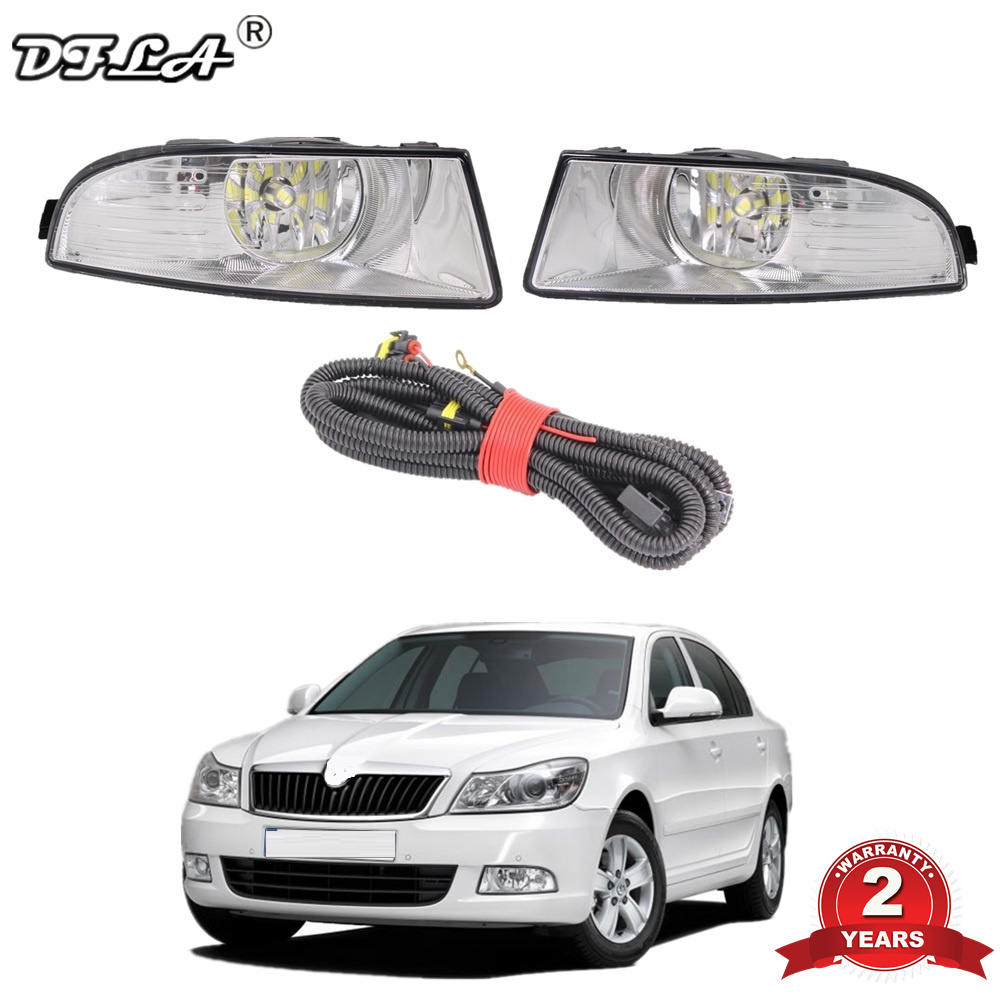 <font><b>LED</b></font> Car Fog Lamp and Wire For <font><b>Skoda</b></font> <font><b>Octavia</b></font> A5 A6 2009 <font><b>2010</b></font> 2011 2012 2013 Front <font><b>LED</b></font> Fog Lamp Fog Light With Bulbs and wire image