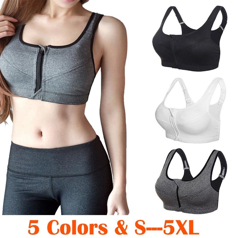 Professional Women Sport Bra Zipper Front Running Yoga Sports Bra Push Up Shockproof Wirefree Crop Top Fitness Vest Sportswear