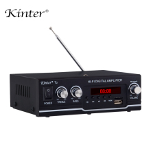 kinter T2 Hifi Car Amplifier Audio 2.0CH 20W stereo sound for bluetooth USB TF input FM radio supply power AC220V DC 12V black купить недорого в Москве