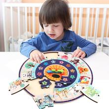 Children Educational Puzzle Wood Clock Desktop Wooden Toy