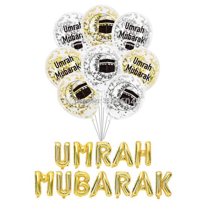 Umrah מובארק בלוני עיד מובארק האיסלאם מוסלמי מסיבת חג השנה החדשה קישוטי מכתב רדיד בלון באנר