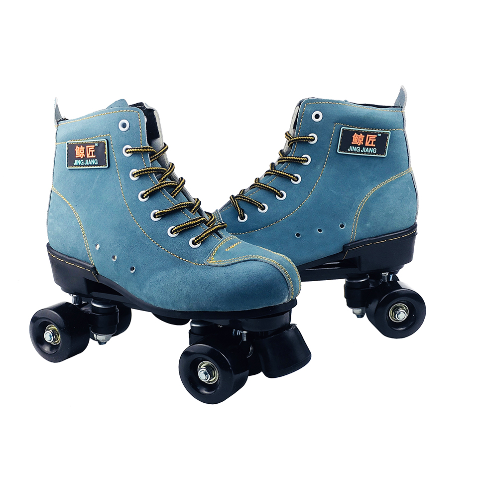 BSTFAMLY Adult  Artificial Leather Roller Skates Double Line Two Skating Shoes Patines With Black PU 4 Wheels IB98