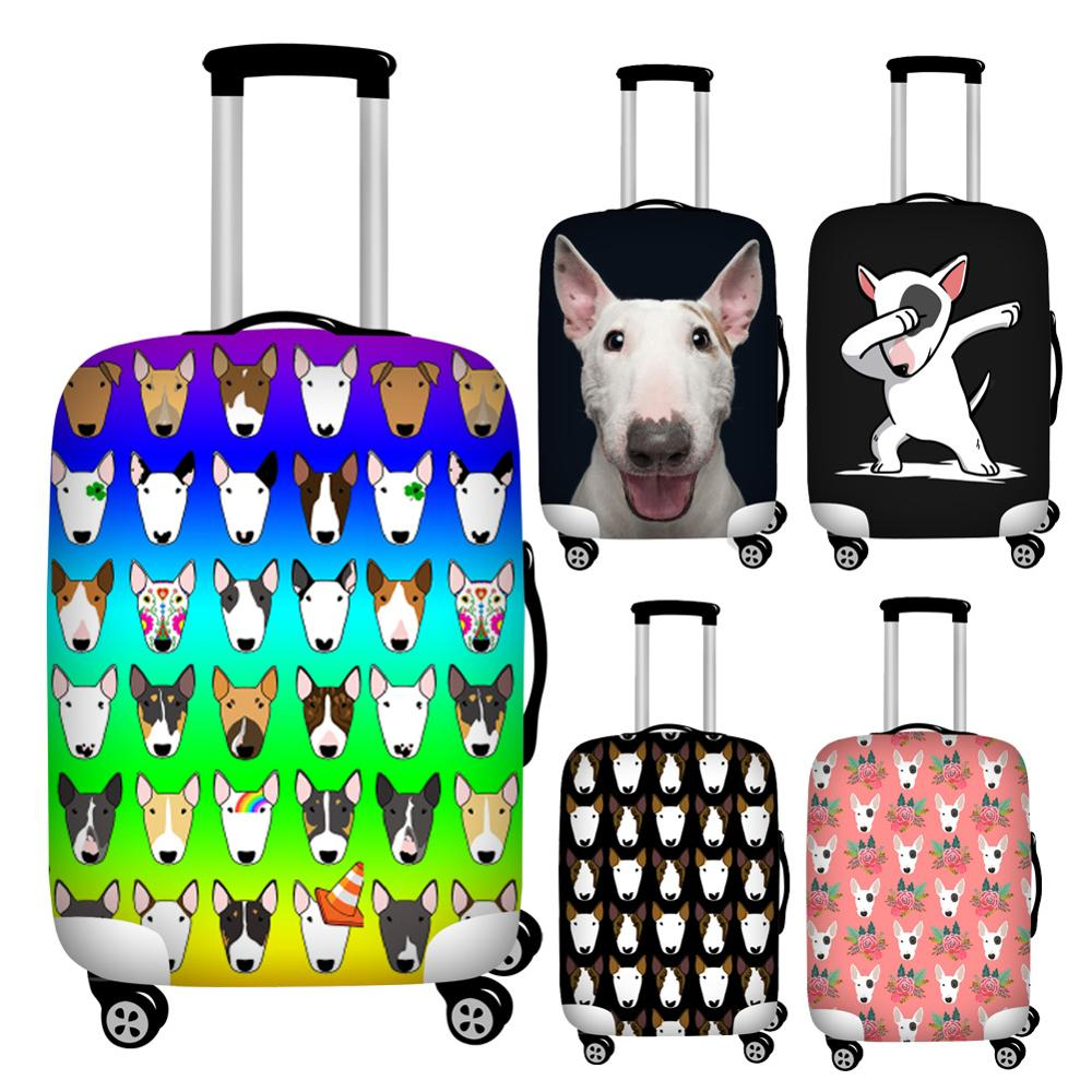 FORUDESIGNS Stretch Bull Terrier Print Travel Suitcase Covers Waterproof 18-32inch Luggage Protective Dust Cover Baggage Covers