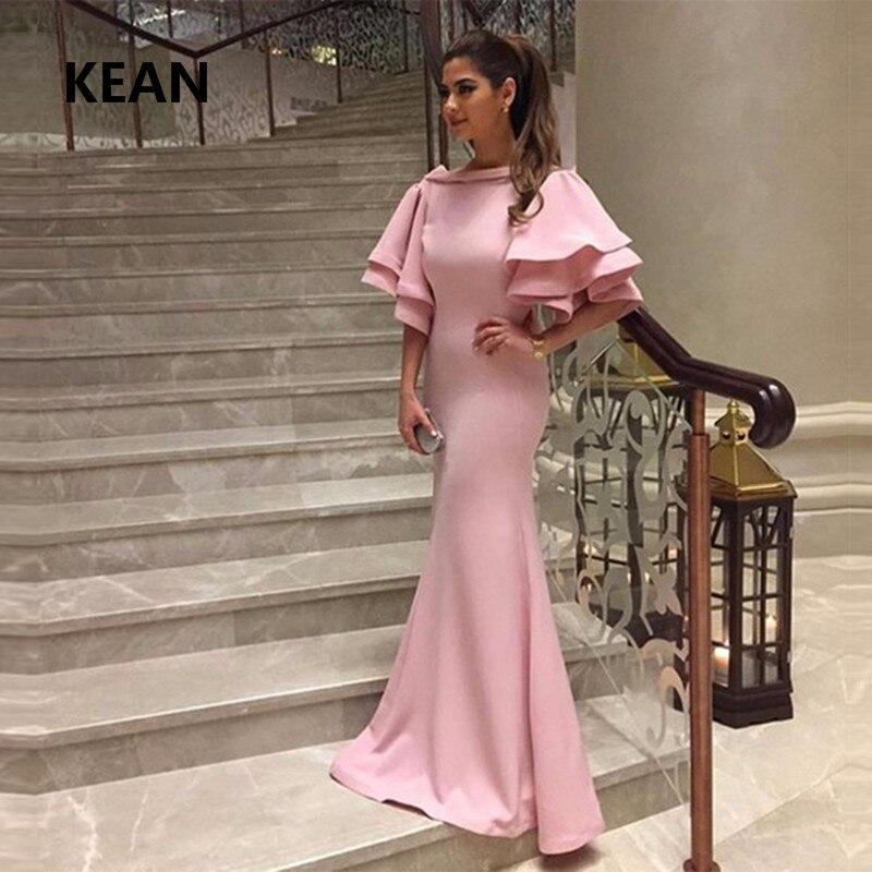 Pink Mermaid Evening Dress Satin Ruffle Simple Vestido De Festa Islamic Dubai Kaftan Saudi Arabic Evening Gown Prom Dress