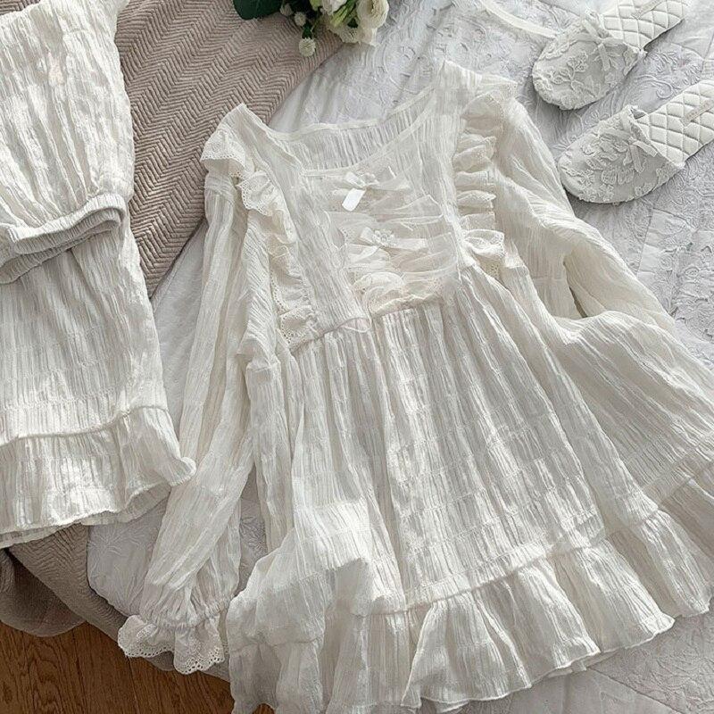 Autumn Winter Soft Cotton Women's Pajamas Sets Vintage Sweet Female White Pyjamas Long Sleeve Sleepwear Suits Plus Size