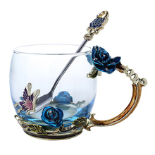 Newly Enamel Coffee Tea Cup Mug 3D Rose Butterfly Glass Cups Wedding Gift VA88