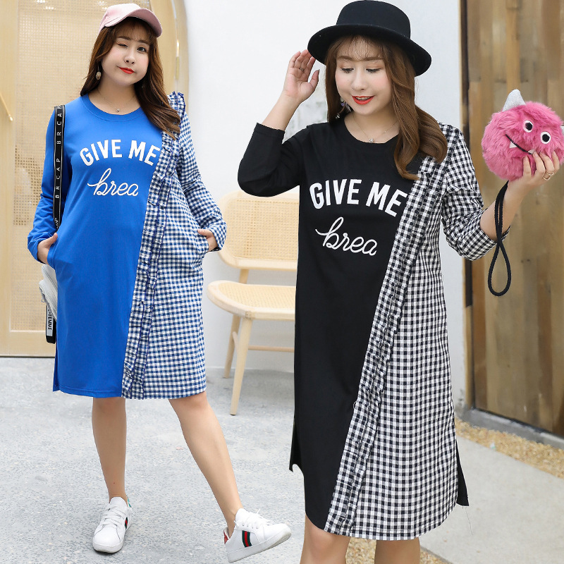 [Sold Out Lower Rack] Large Size CHIC Hong Kong Flavor Plaid Stitching Dress Casual Skirt A Generation Of Fat A114