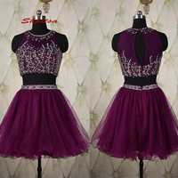 Luxury Purple Short Homecoming Dresses Tulle Two 2 Piece Graduation 8th Grade Prom Dresses Junior Cocktail Formal Dresses