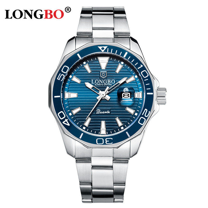 LONGBO Men's Luminous Casual Quartz Watch Calendar Stainless Steel Belt Business Waterproof Explosion Men's Watch