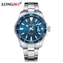 LONGBO גברים של שעון למעלה מותג יוקרה קוורץ שעונים לגברים לוח שנה נירוסטה רצועת שעון עסקי גברים relogios masculino
