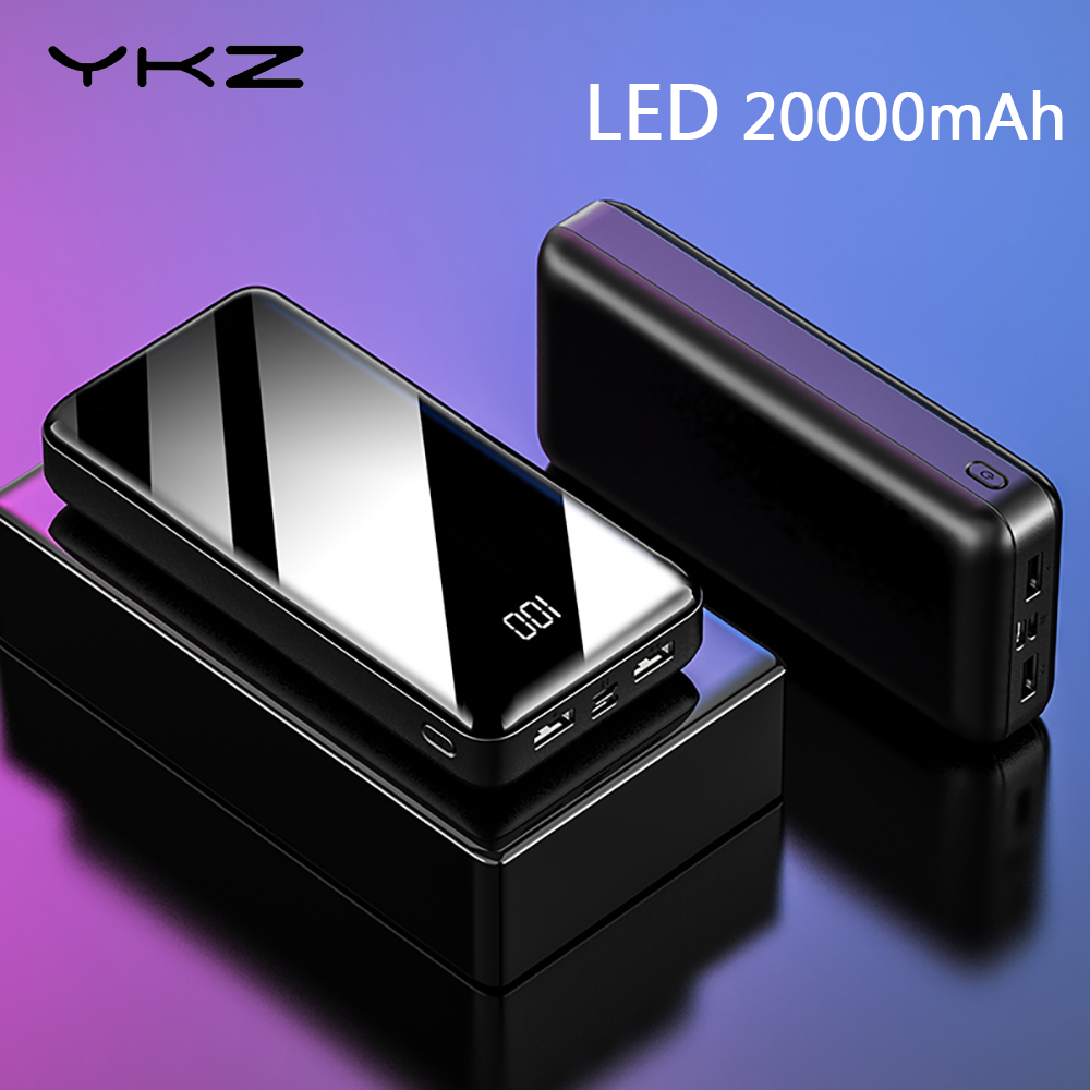 YKZ Power Bank LED Digital Display 20000mAh Portable Charging Powerbank Charging External Battery Charger For IPhone Xiaomi Mi