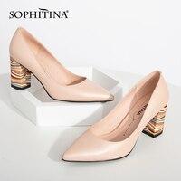 سوفيتينا حذاء نسائي جديد للربيع والخريف بمقدمة مدببة وكعب مربع صلب حذاء نسائي عصري حذاء جلدي لامع C165