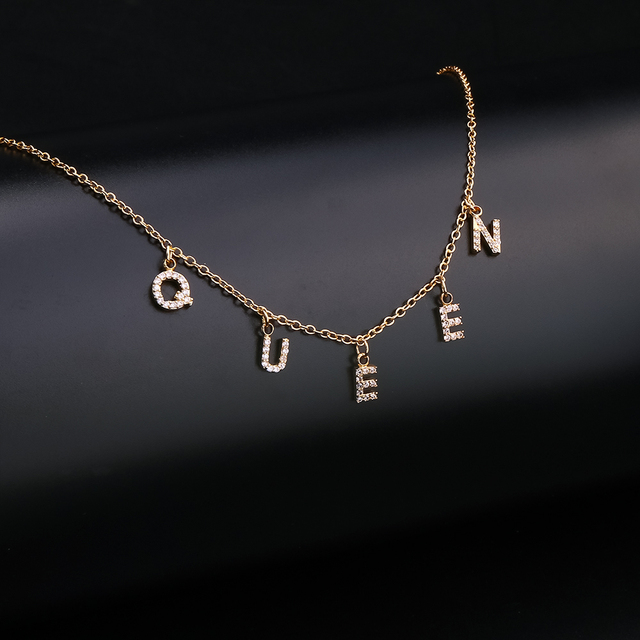 DOREMI Trendy 6mm Zircon Name Necklace for Women Girl Personalized Crystal Name Necklace Copper Pendant Plain Chain