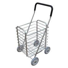 Aluminum Alloy Shopping Cart, Grocery Wagon, 15cm Big Wheel Folding Trolley, Small Trailer Food Basket