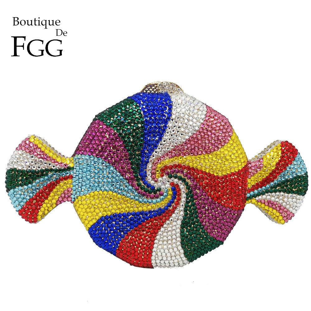 Boutique De FGG Multicolored Candy Clutch Women Crystal Evening Bag Wedding Party Minaudiere Handbags And Purses Bridal Hand Bag