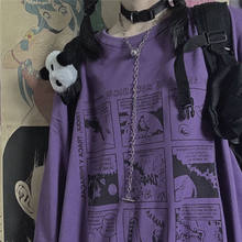 2021 outono nova camiseta feminina animação japonesa impressão harajuku solto coreano em torno do pescoço manga longa amantes camiseta