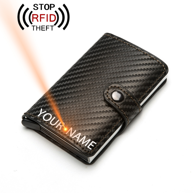 Engraving Name PU Leather Credit  Card Holder Men Wallet RFID Male Card Holder Purse Automatic Business ID Card Aluminum Wallet