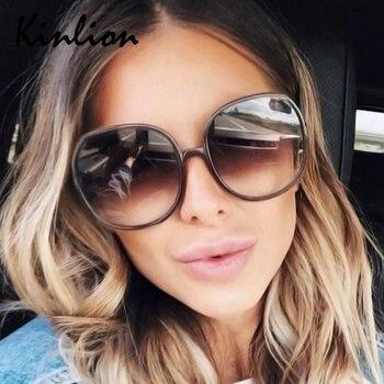 Kinlion Vintage Round Sunglasses Women Retro Oversized Ladies Eyewear Sun Glasses Woman UV400 Gafas Feminino Oculos De Sol 2020 мужские солнцезащитные очки brand new 2015 uv400 oculos gafas feminino sg02