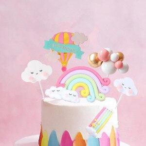 Decoración Para pastel de arco iris rosa, decoración para tarta de feliz cumpleaños, decoración de postre para fiesta de cumpleaños, regalos bonitos
