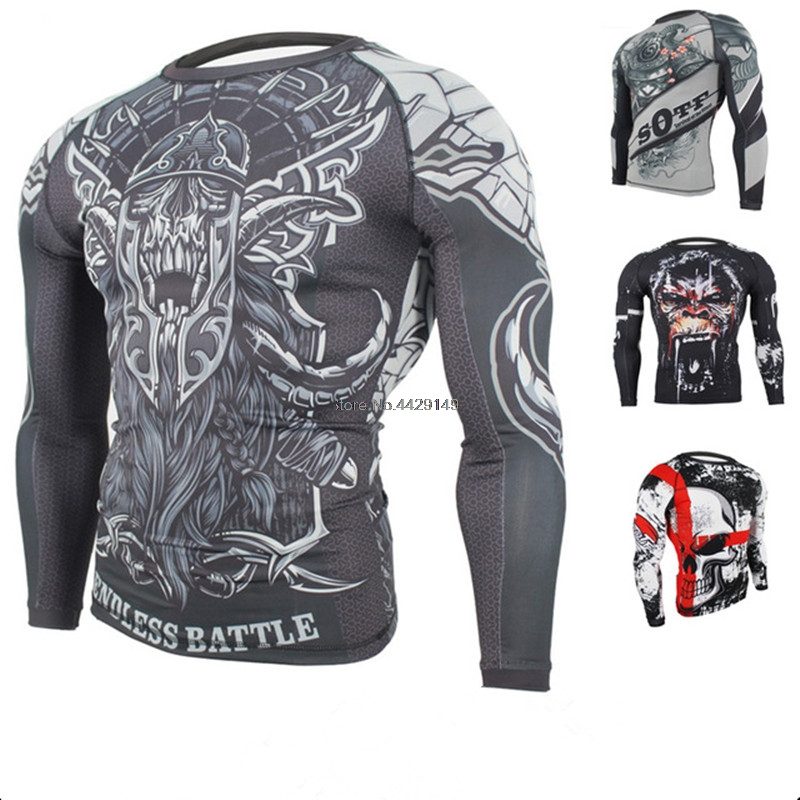 MMA Fitness Tattoo Monkey Pattern Training Sports Wear Breathable Clothing Muay Thai Clothing Long Sleeve Boxing Jerseys