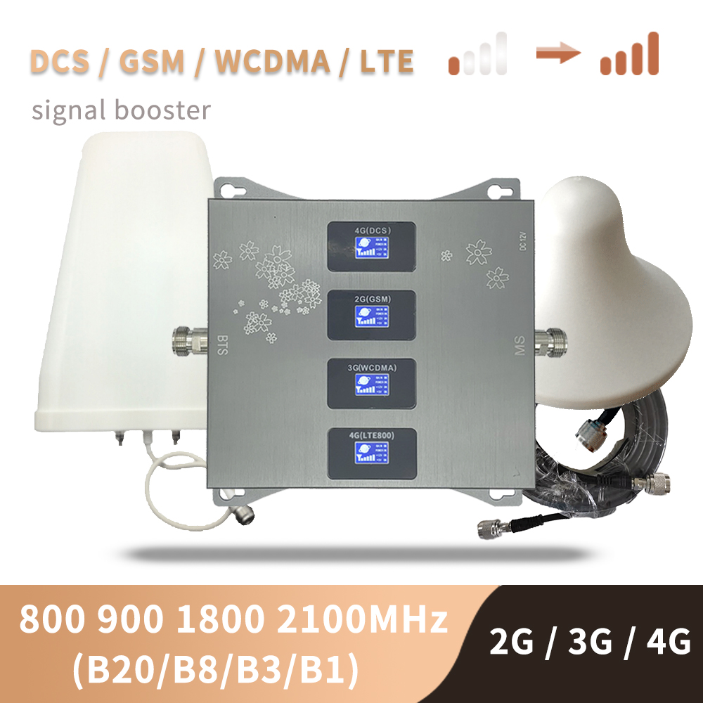 B20 800 900 1800 2100 Mhz Cell Phone Booster Four-Band Mobile Signal Repeater 2G 3G 4G Cellular Amplifier LTE GSM UMTS DCS