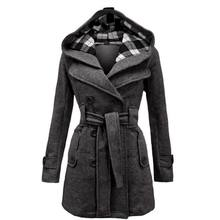 Winter Women Jacket New Casual Solid Color Hooded Coat Belt Double-breasted Dense Mid-long Thick Coat Long Jacket Women S-3XL(China)