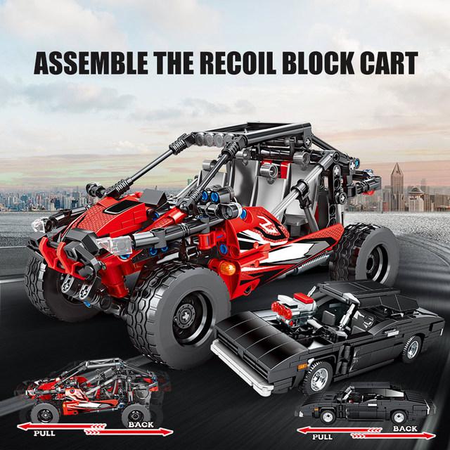 SEMBO City Pull Back Off-road Mechanical Vehicle Model Building Blocks Technic Racing Car Creator Bricks Toys For Children