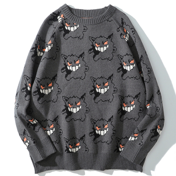 Sweater Men Harajuku Anime Hip Hop Streetwear Men Clothing Spandex Pullover O-neck Oversize Fashion Casual Couple Male Sweaters 1