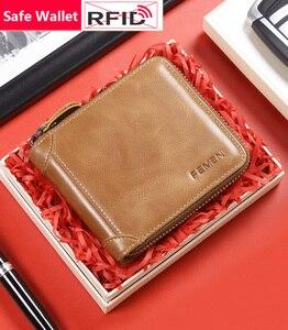 2020 Новое поступление RFID блокирующий безопасный Короткий Мужской кошелек из натуральной кожи Модный деловой стиль маленький мужской кошеле...