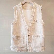 Женский твидовый жилет с двумя большими карманами в стиле кэжуал