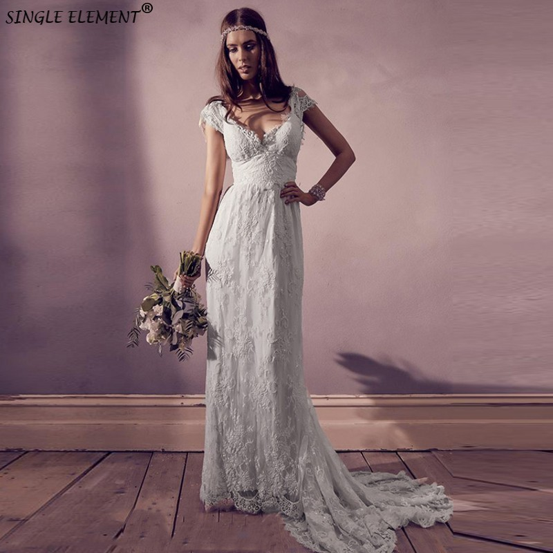 Charming Beauty Women Vestido De Noiva V Neck Empire Waist Custom Made Lace Bohemian Wedding Dresses