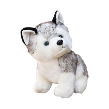 Simulation Huskie Doll Sitting Huskie Plush Toy Adorable Dog Doll Soft Toy Gift Light Grey (20cm)(China)