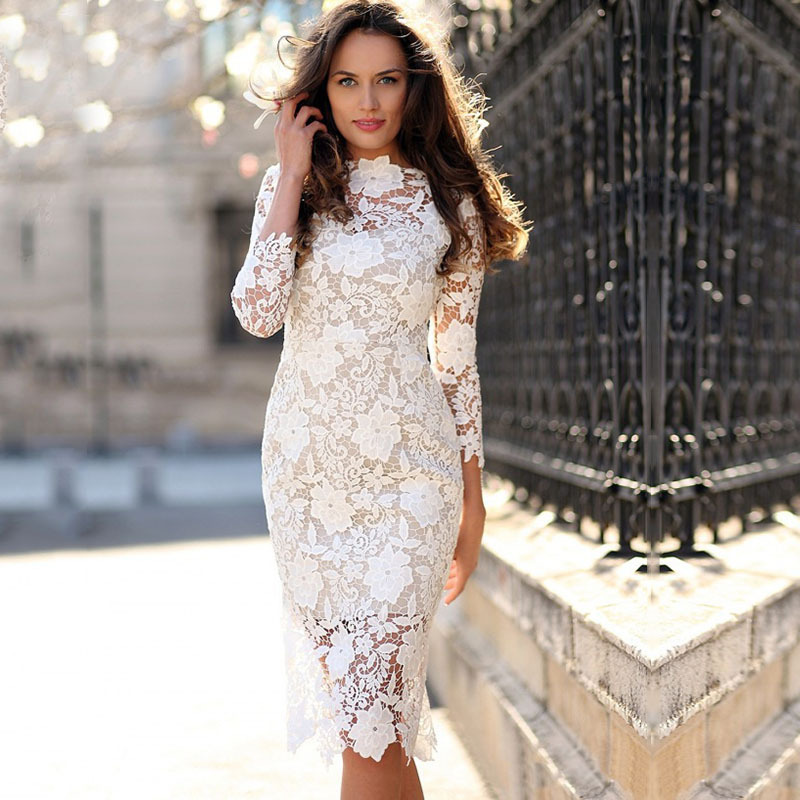 New Direct Sale European And American Women's Wear New Amazon Popular Sexy Lace Long Sleeve Pencil Skirt Middle Skirt