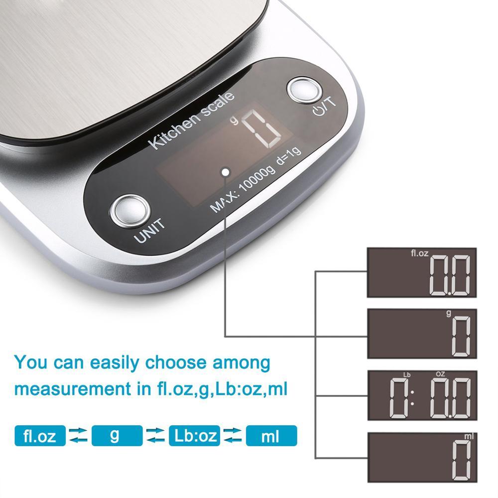 Цифровые кухонные весы, многофункциональный прибор для измерения массы, 10 кг, для приготовления пищи, с ЖК-дисплеем, серебристые-2
