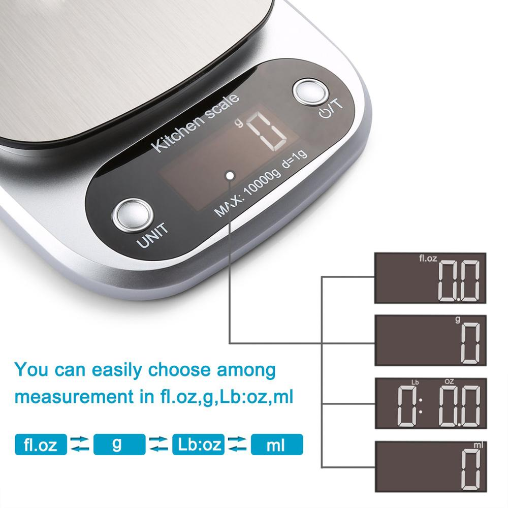 Image 3 - Digital Kitchen Scale 10kg Food Scale Multifunction Weight Scale Electronic Baking & Cooking Scale with LCD Display Silver-in Kitchen Scales from Home & Garden