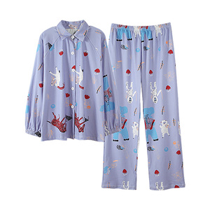 Image 3 - BZEL Cotton Pajamas Set Autumn Winter Women Sleepwear Cartoon 2PCS Nighty Cute Nightwear Suit Female Home Wear Pijama Pyjama 3XL