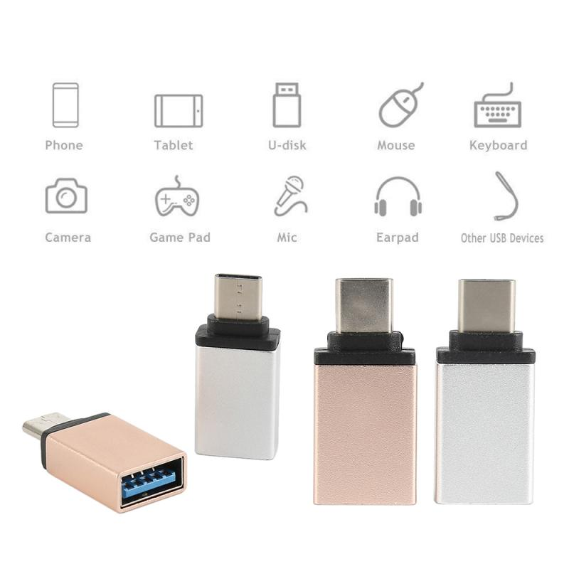 Aluminium Alloy USB-C Type C Male To USB 3.0 Female OTG Data Sync Adapter Reversible Metal Head Adapter OTG Data Sync