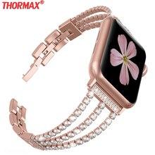 สำหรับAppleนาฬิกา38มม.40มม.สร้อยข้อมือผู้หญิงสำหรับIWatch BandเพชรนาฬิกาSeries 4/3/2 Rose Goldสแตนเลส