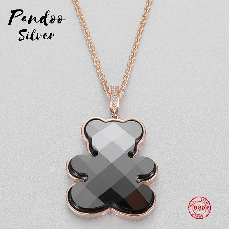 PANDOO модный Шарм чистое серебро 925 Оригинал 1:1 копия, милый детский кулон плюшевый мишка ожерелье женское роскошное ювелирное изделие подарок