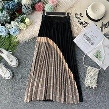Осенняя и зимняя новая Ретро клетчатая юбка с завышенной талией контрастного цвета, длинная Плиссированная юбка для женщин F071