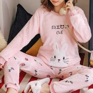 2020 Winter Pajamas Women Korean Sleepwear Cute Cartoon Flannel Pajamas Set Velvet Warm Pijama Round Neck Pyjama Homewear Women