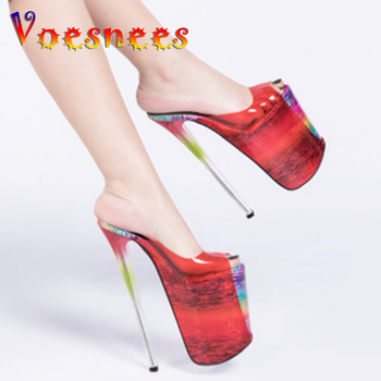 Voesnees Women Slippers Summer High Heels Woman Shoes Sexy Drag Thin Heels 22 cm Big Size 34-44 Platform T Stage Show Shoes image