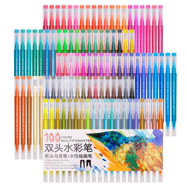 Markers Brush Pen Art Supplies for Fawing 48 60 72 100 Colors Sketch Watercolors Colored Markers Novel School Supplies Manga
